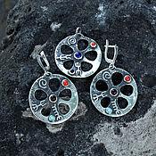 Украшения handmade. Livemaster - original item Earrings and pendant are Rock carvings made of silver with stones. Handmade.