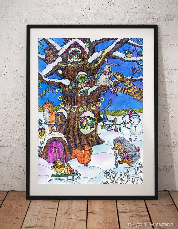 Poster Fairy tree Painting with forest animals for interior, Pictures, St. Petersburg,  Фото №1