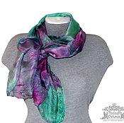 Аксессуары ручной работы. Ярмарка Мастеров - ручная работа Шелковый палантин Клюква и мята шелковый шарф. Handmade.