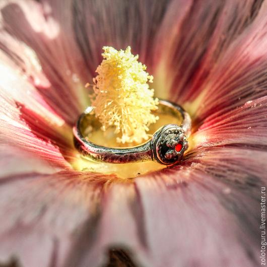 Кольца ручной работы. Ярмарка Мастеров - ручная работа. Купить Кольцо «Аленький цветочек» из серебра. Handmade. Серебряный, серебряные украшения