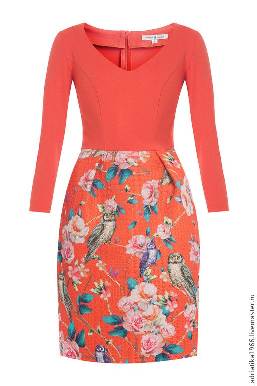 Платье совы коралл