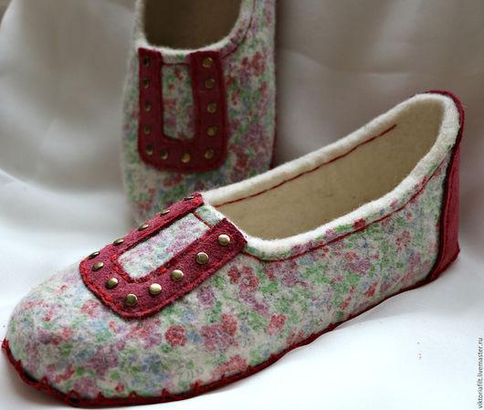Обувь ручной работы. Ярмарка Мастеров - ручная работа. Купить Тапочки женские валяные. Handmade. Белый, тапочки валяные стильные