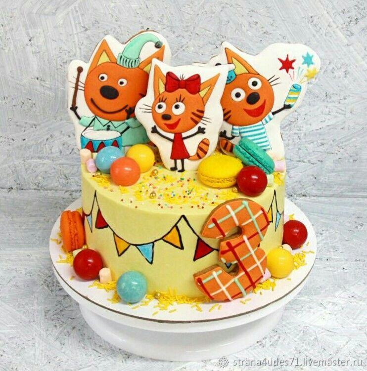 три кота картинки для торта фигурками лета это
