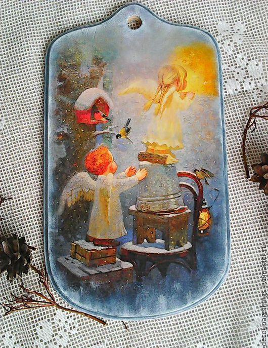 """Кухня ручной работы. Ярмарка Мастеров - ручная работа. Купить Досочка """"Ангелы"""" подарок на новый год  и рождество.. Handmade. Голубой"""