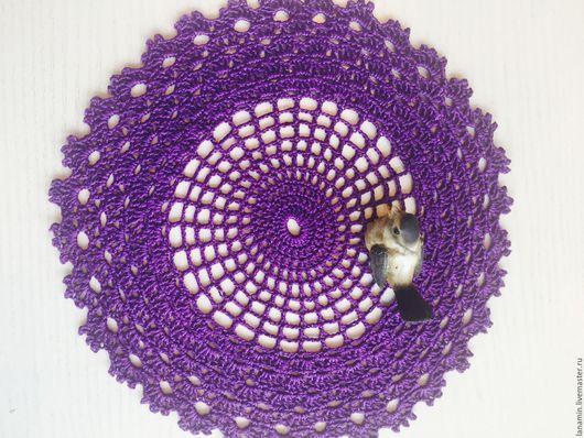 Текстиль, ковры ручной работы. Ярмарка Мастеров - ручная работа. Купить Салфетка, ирис, 20 см. Handmade. Тёмно-фиолетовый