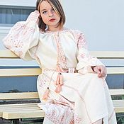 Одежда handmade. Livemaster - original item Linen embroidered dress Embroidery Long dress. Handmade.