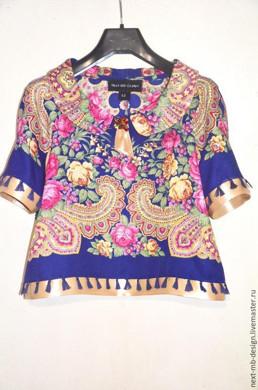 Авторская блузка ручной работы.Универсальная блузка  в стиле ретро с традиционным скругленным воротником  свободного силуэта в области талии сочетается почти с любыми однотонными вещами.