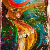 """Картины и панно ручной работы. Ярмарка Мастеров - ручная работа Картина на холсте с кристаллами """"Она"""". Handmade."""