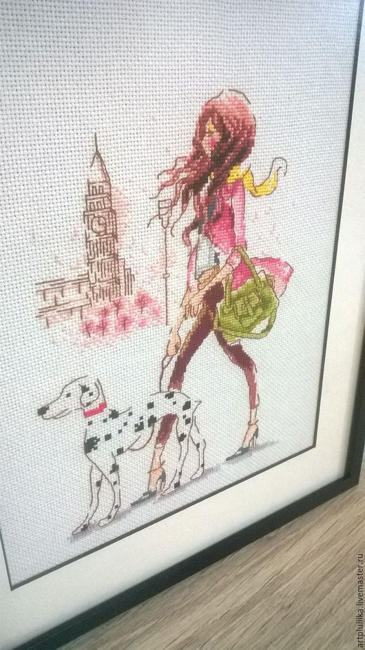 """Люди, ручной работы. Ярмарка Мастеров - ручная работа. Купить Картина вышитая крестом """"Городская мода"""". Handmade. Комбинированный"""