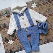 Сувениры и подарки handmade. Livemaster - original item Knitted jumpsuit for newborn 0-3 months. Handmade.