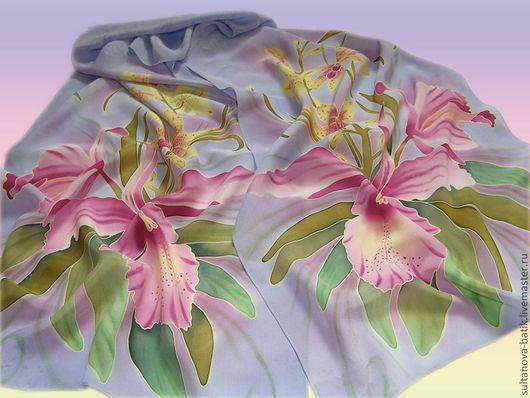 """Шарфы и шарфики ручной работы. Ярмарка Мастеров - ручная работа. Купить Шарф """"Орхидеи"""". Handmade. Бледно-сиреневый, орхидеи, цветы"""