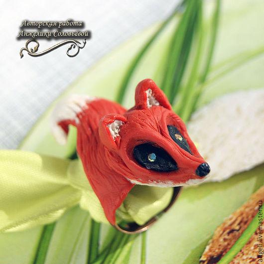 """Кольца ручной работы. Ярмарка Мастеров - ручная работа. Купить Кольцо """"Лиса"""". Handmade. Рыжий, кольцо из пластики, лисица"""