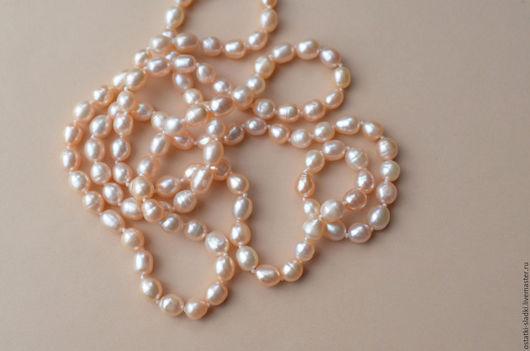 Для украшений ручной работы. Ярмарка Мастеров - ручная работа. Купить Жемчуг персиковый, полунить, нить (39). Handmade. Жемчуг