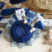 """Украшения ручной работы. Ярмарка Мастеров - ручная работа """"Синяя даль""""  бохо брошь, цветок из ткани голубой. Handmade."""