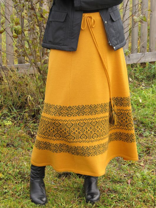 Юбки ручной работы. Ярмарка Мастеров - ручная работа. Купить юбка вязанная с орнаментом. Handmade. Темно-серый, юбка с орнаментом