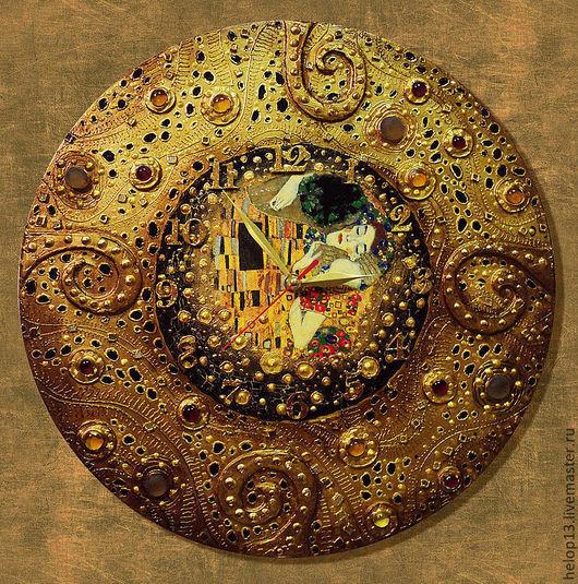 """Часы для дома ручной работы. Ярмарка Мастеров - ручная работа. Купить Часы """"КЛИМТовые"""" №1. Handmade. Золотой, часы настенные"""