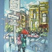 """Картины и панно ручной работы. Ярмарка Мастеров - ручная работа Графика """"Дождь в городе"""" формат А4. Handmade."""