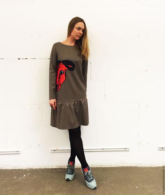 Платья ручной работы. Ярмарка Мастеров - ручная работа. Купить Платье Red Bull. Handmade. Хаки, платье трапеция, красный