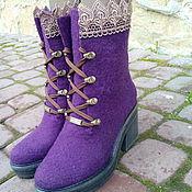 Обувь ручной работы. Ярмарка Мастеров - ручная работа Сапожки из шерсти с кружевом Кружево. Handmade.