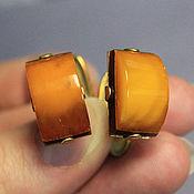 Винтаж ручной работы. Ярмарка Мастеров - ручная работа Запонки латунные с янтарем. Handmade.