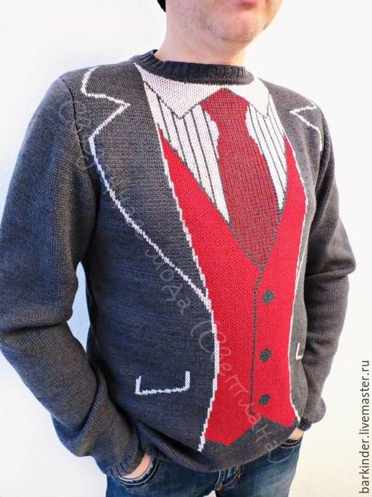 """Для мужчин, ручной работы. Ярмарка Мастеров - ручная работа. Купить Вязаный мужской джемпер с """" Джентльмен"""". Handmade."""