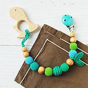 Работы для детей, handmade. Livemaster - original item Teether-teething toy with a dinosaur on the emerald holder. Handmade.