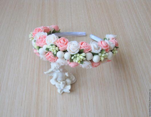 Диадемы, обручи ручной работы. Ярмарка Мастеров - ручная работа. Купить Ободок с розами белого и персикового цвета. Handmade.