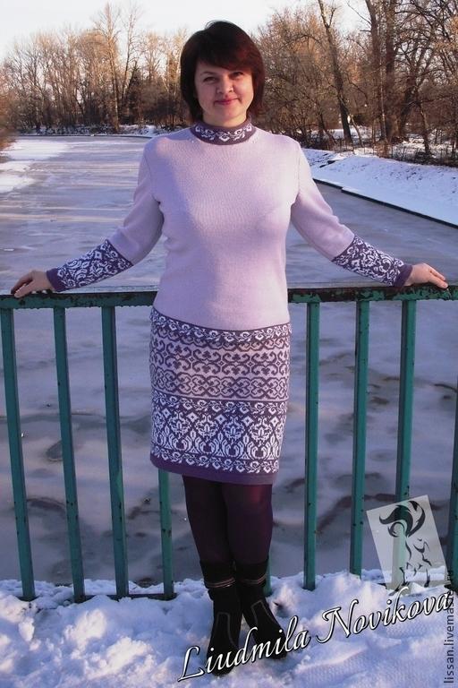 Костюмы ручной работы. Ярмарка Мастеров - ручная работа. Купить Джемпер и юбка Сиреневый туман. Handmade. Жаккардовый узор