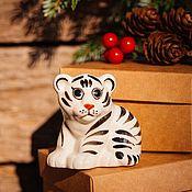 Сувениры и подарки handmade. Livemaster - original item White Tiger Cub-Symbol of the Year 2022 Figurine. Handmade.