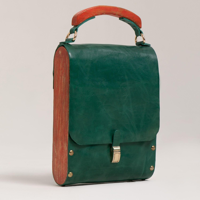 Сумка из кожи и дерева, Классическая сумка, Улан-Удэ,  Фото №1