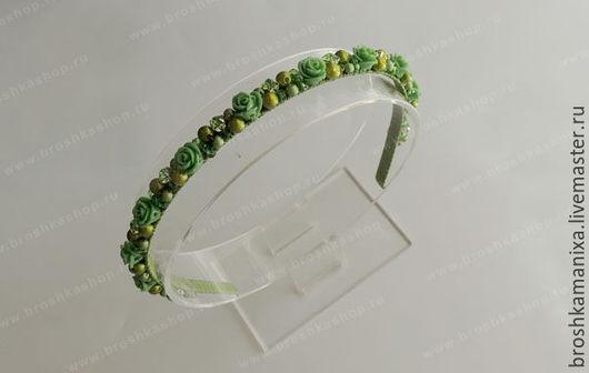"""Диадемы, обручи ручной работы. Ярмарка Мастеров - ручная работа. Купить Ободок """"Травяной чай"""". Handmade. Зеленый, ободок для девочки"""