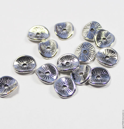 Для украшений ручной работы. Ярмарка Мастеров - ручная работа. Купить Рондели (спейсеры), 9х1 мм, цвет серебро, разделители. Handmade.