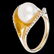 Украшения handmade. Livemaster - original item The ring from gold of 585 tests with pearls and diamonds. Handmade.