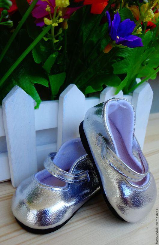 Куклы и игрушки ручной работы. Ярмарка Мастеров - ручная работа. Купить Туфли для кукол, серебряные/золотые 7 см. Handmade. Золотой