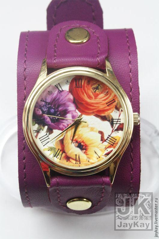 """Часы ручной работы. Ярмарка Мастеров - ручная работа. Купить Наручные часы JK  """"Цветы"""" на широком. Handmade. Наручные часы"""