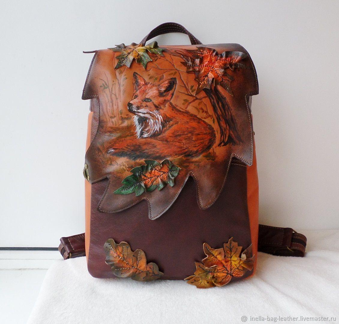 Рюкзак кожаный с гравировкой и росписью на заказ Светлане, Рюкзаки, Ногинск,  Фото №1