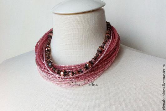 """Колье, бусы ручной работы. Ярмарка Мастеров - ручная работа. Купить Колье из бисера """"pink thread"""". Handmade. Яркие бусы"""