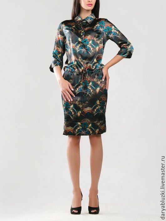 """Платья ручной работы. Ярмарка Мастеров - ручная работа. Купить Платье шелковое """"Фракталы"""". Handmade. Комбинированный, абстрактный, фрактал, платье"""