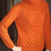 Одежда ручной работы. Ярмарка Мастеров - ручная работа оранжевый пуловер. Handmade.