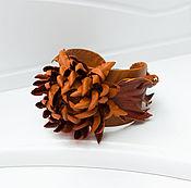 Украшения handmade. Livemaster - original item Leather bracelet Red chrysanthemum. Decoration leather. Handmade.