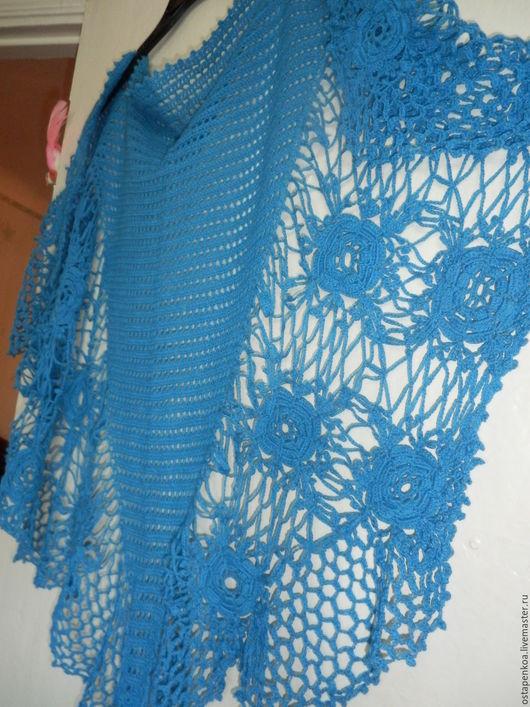 Шали, палантины ручной работы. Ярмарка Мастеров - ручная работа. Купить синяя ирландская шаль. Handmade. Синий, шаль вязаная