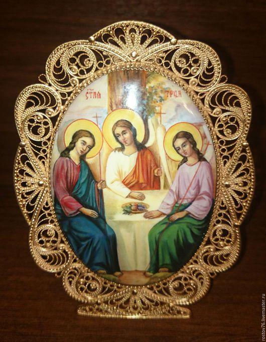 """Иконы ручной работы. Ярмарка Мастеров - ручная работа. Купить икона """" Святая Троица """". Handmade. Комбинированный, православие"""