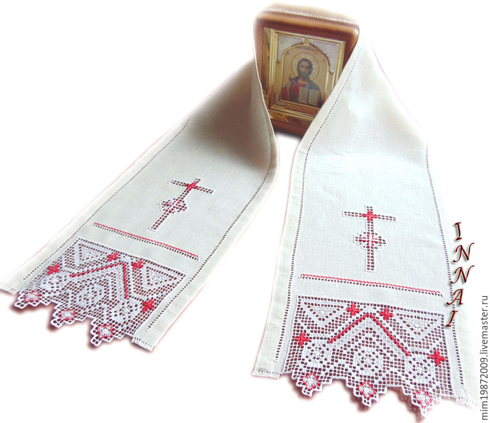 Easter cross Orthodox Easter towel Save and Protect hand embroidery on linen white red icon angel strojeva embroidery floss holiday of Easter Easter table Easter cake Easter basket