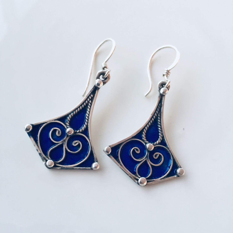 Blue enamel and filigree earrings, Earrings, Moscow,  Фото №1