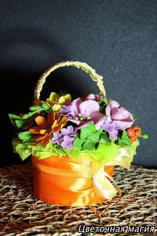 Цветы ручной работы. Ярмарка Мастеров - ручная работа. Купить Корзиночка с цветами из полимерной глины. Handmade. Комбинированный, керамическая флористика