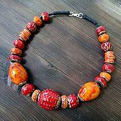 Керамические бусы красно-оранжевые