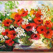 Картины и панно ручной работы. Ярмарка Мастеров - ручная работа картина маслом на холсте Маки картины цветов летний пейзаж. Handmade.