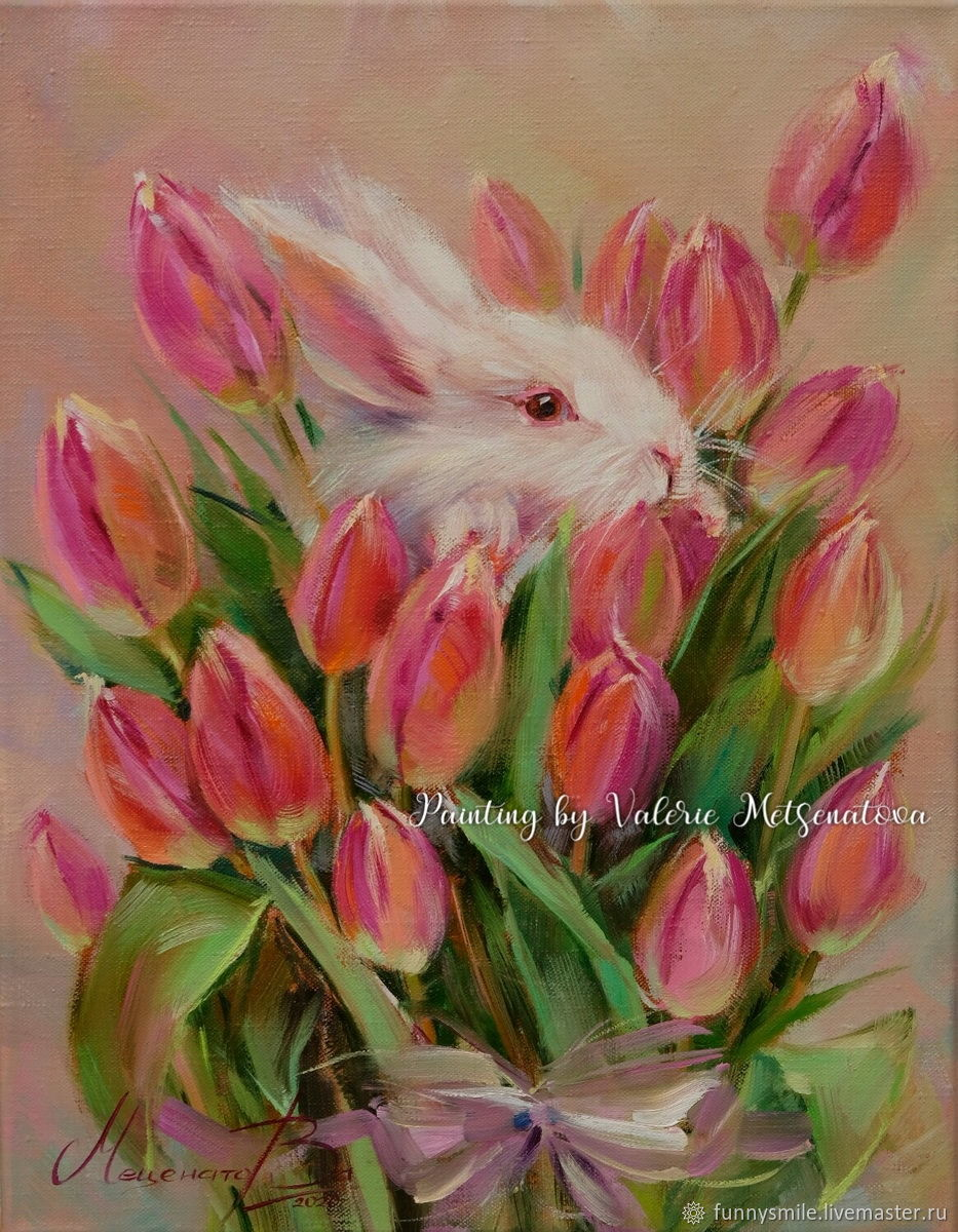 Oil painting on canvas. Delicate aromas of spring. Tulips Rabbit, Pictures, Moscow,  Фото №1