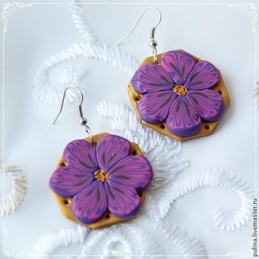 """Серьги ручной работы. Ярмарка Мастеров - ручная работа. Купить Серьги """"Фиолетовый бриз"""". Handmade. Серьги, цветы, украшение, сережки"""