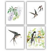 Для дома и интерьера handmade. Livemaster - original item Swallows and white acacia Set of 4 picture poster for girl. Handmade.